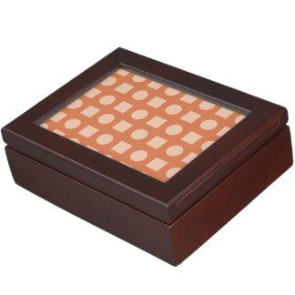 Círculos y rojo anaranjado del cuadrado cajas de recuerdos