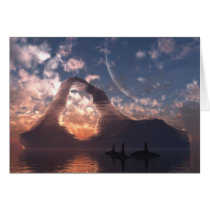 iceberg, sunset, orca, ocean, water, Card with custom graphic design