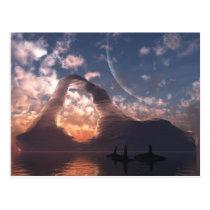 iceberg, sunset, orca, ocean, water, desktop wallpaper, Postcard with custom graphic design