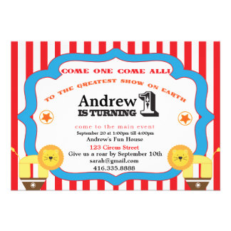 Circus 1st Birthday Party Invitation