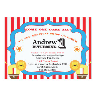Circus First Birthday Invitations Announcements Zazzle