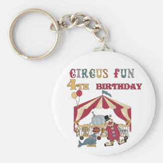 Circus 4th Birthday Tshirts and Gifts Basic Round Button Keychain