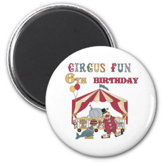 Circus 6th Birthday 2 Inch Round Magnet