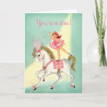 Circus Acrobat on Horse Valentine Holiday Card