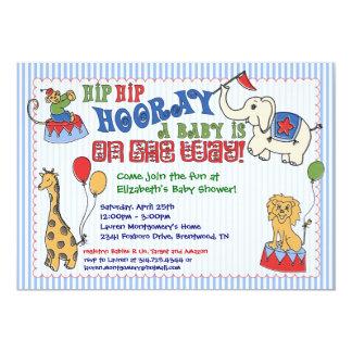Circus Animal Baby Shower Invitation - Blue