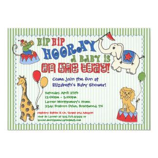 Circus Animal Baby Shower Invitation - Green