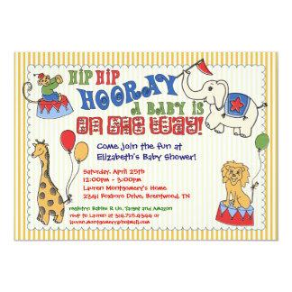 Circus Animal Baby Shower Invitation - Yellow
