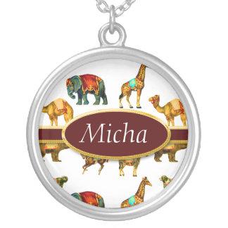 Circus Animal Fun Monogram Silver Plated Necklace
