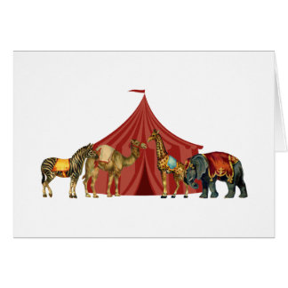 Circus Animals And Tent Note Card