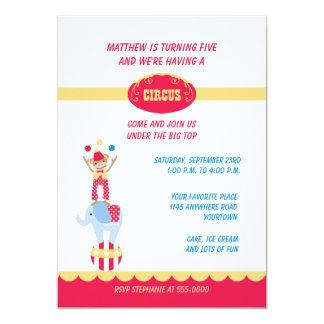"Circus Animals Birthday Invitation 5"" X 7"" Invitation Card"