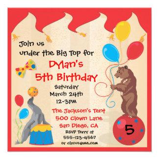 Circus Animals Birthday Party Invitation Card