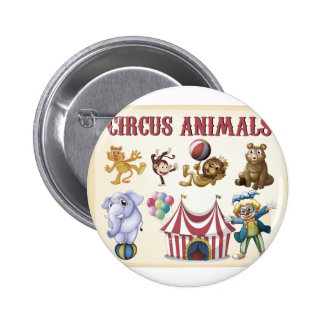 Circus animals 2 inch round button