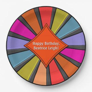 Circus Art - Big Top Pinwheel (Personalized) Paper Plate