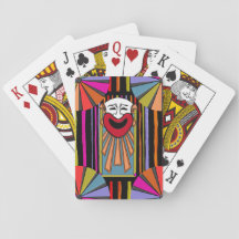 Circus Art - Clown Face, Stripes and Big Top Deck Of Cards