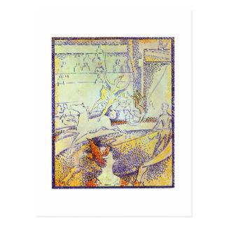 Circus art sketch by Seurat pointillist paintings Postcard