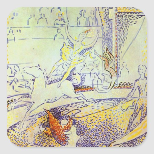 Circus art sketch by Seurat pointillist paintings Square Sticker