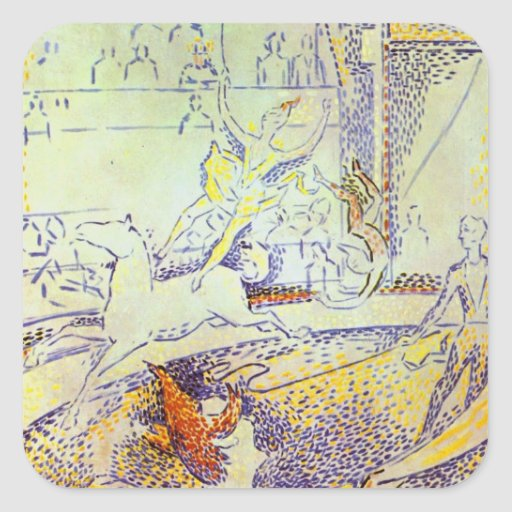 Circus art sketch by Seurat pointillist paintings Stickers