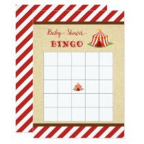 CIrcus Baby Shower Bingo Card