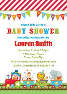 Train baby invitations zazzle circus baby shower invitation circus train filmwisefo