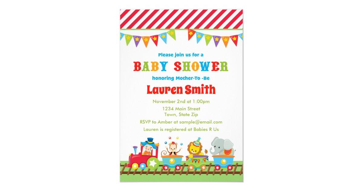 Circus Baby Shower Invitation Circus Train | Zazzle.com