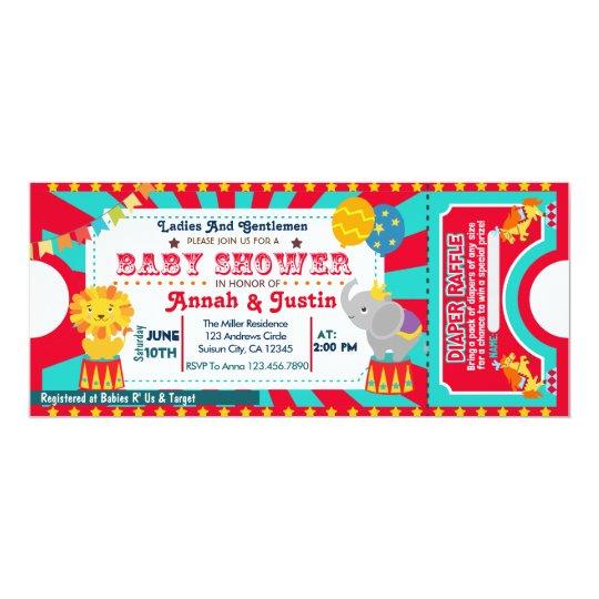Circus baby shower invitation diaper raffle Zazzlecom