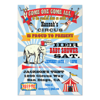 "Circus Baby Shower Invitations 5"" X 7"" Invitation Card"