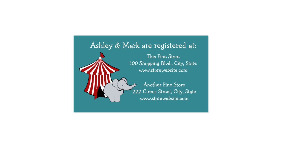 circus baby shower registry business card zazzle