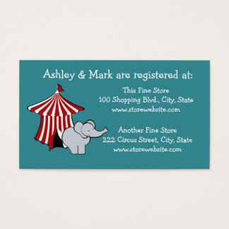 Circus Baby Shower Registry Business Card