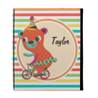 Circus Bear Bright Rainbow Stripes iPad Folio Cover