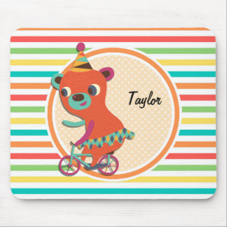 Circus Bear; Bright Rainbow Stripes Mouse Pad