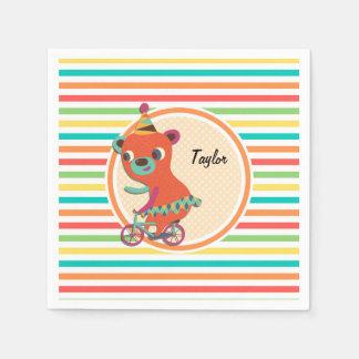 Circus Bear; Bright Rainbow Stripes Paper Napkin