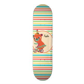 Circus Bear; Bright Rainbow Stripes Skate Board Deck