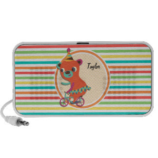 Circus Bear Bright Rainbow Stripes Travel Speakers