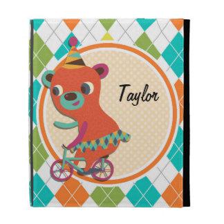 Circus Bear on Colorful Argyle Pattern iPad Folio Covers