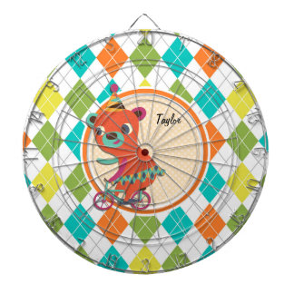Circus Bear on Colorful Argyle Pattern Dart Board