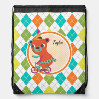 Circus Bear on Colorful Argyle Pattern Drawstring Backpack