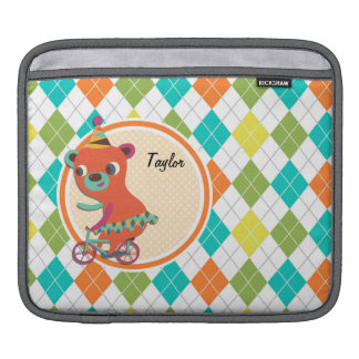 Circus Bear on Colorful Argyle Pattern iPad Sleeves