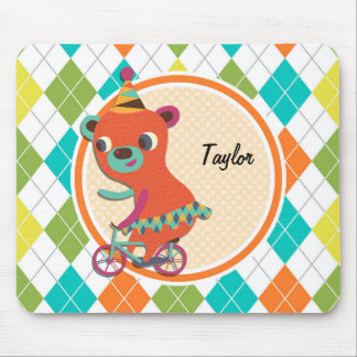 Circus Bear on Colorful Argyle Pattern Mouse Pad