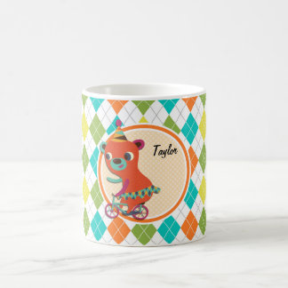 Circus Bear on Colorful Argyle Pattern Mug