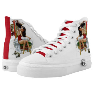 Circus Beauty Vintage Art Pin-Up Girl High-Top Sneakers