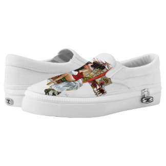 Circus Beauty Vintage Art Pin-Up Girl Slip-On Sneakers