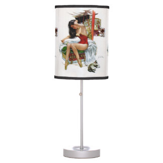 Circus Beauty Vintage Art Pin-Up Girl Table Lamps