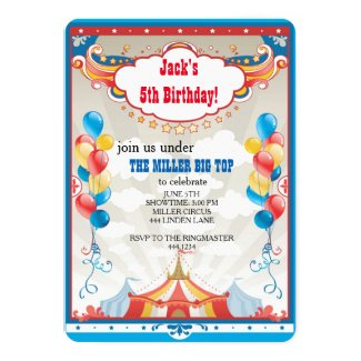 Circus Big Top Carnival Birthday Party Invitations