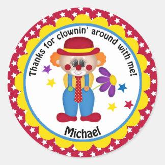 Circus Birthday Clown for Boys Classic Round Sticker