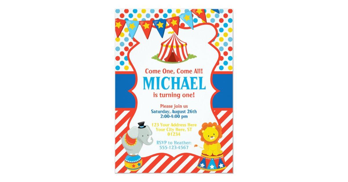 Circus Birthday Invitation - Carnival Theme | Zazzle.com