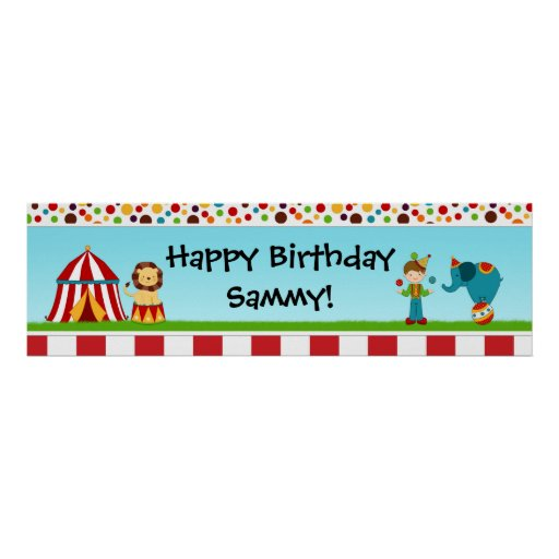 Circus Birthday Party Banner 40x12 Print