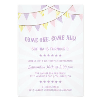 Circus Birthday Party 5x7 Paper Invitation Card