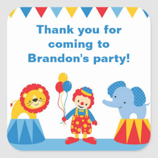 Circus Birthday Party Stickers Square Sticker