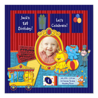 Circus Boys Photo 1st Birthday Party Personalized Invites