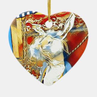 Circus Bunny Ceramic Ornament
